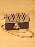 Handbags & Belts - Urban Energy™ Cross Body Laser Pattern Bag With Tassels (brown)