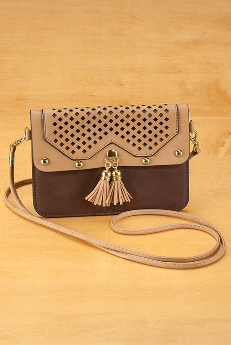 Urban Energy™ Cross Body Laser Pattern Bag With Tassels (brown)