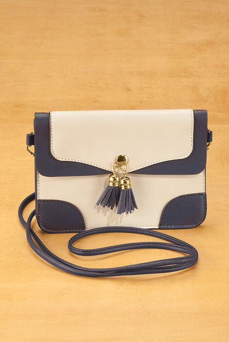 Urban Energy™ Cross Body Bag With Tassels (taupe navy)
