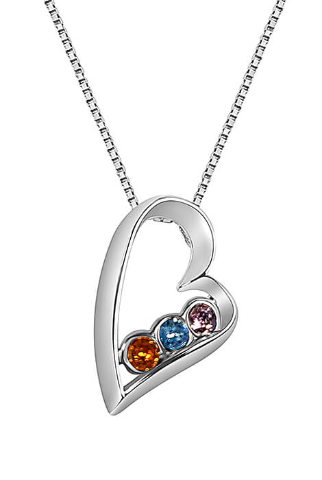 Sterling Silver Open Heart Birthstone Pendant Necklace