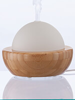 At Home Spa - AromaGlobe Glass & Bamboo Essential Oil Diffuser