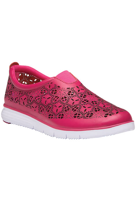 Propet Hannah Women's Fashion Sneaker Fine laser cut leather upper with elastic center gore for slip on easeRemovable cushioned EVA insoleLightweight EVA outsole for durability and tractionFlexibleWhole and half sizes 6-10 and 11