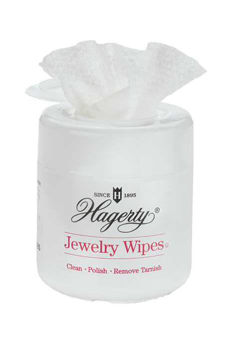 Hagerty Jewelry Cleaner Wipes Bring back the sparkle and shine with these convenient Hagerty Jewelry Cleaner Wipes. Safe for fine and costume jewelry, they gently polish away tarnish and buildup, returning the luster to silver, gold, platinum, diamonds, gemstones and more. After cleaning, simply rinse jewelry and hands in warm water and dry with a soft cloth. Pop-up plastic dispenser includes 20 disposable wet jewelry wipes, each 8  x 5 1/2 . Safe for fine and costume jewelryPop-up plastic dispenserIncludes 20 disposable wet wipesEach 8  x 5 1/2