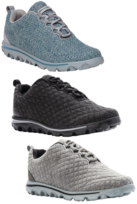 Propet TravelActiv Woven Womens Sneaker Propet TravelActiv Woven Womens Sneaker is Scotchgard treated with a woven mesh upper for stain and water resistance. Removable cushioned EVA insole. Lightweight TravelTekTM EVA outsole for durability and traction. 1 1/4  heel. 6 oz. Scotchgard-treated woven mesh upper for stain and water resistanceRemovable cushioned EVA insoleLightweight TravelTekTM EVA outsole for durability and traction1 1/4  heel6 oz.
