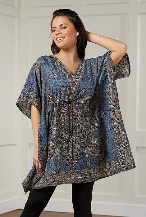Slate & Black Short Drawstring Caftan by Sawyer Creek