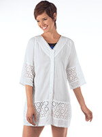 Accessories - White Eyelet Swim Cover-Up