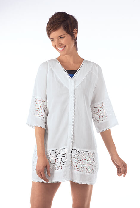 White Eyelet Swim Cover-Up