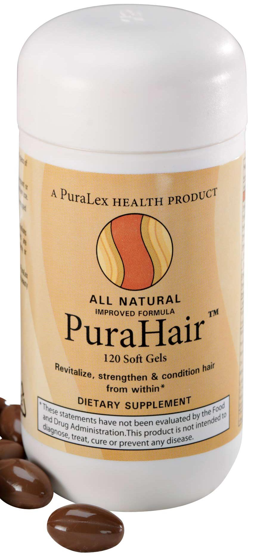 Puralex PuraHair Hair Growth Vitamins - 120 Count All-natural PuraHairTM hair growth vitamins promote thicker, stronger, shinier hair and helps prevent hair loss with amino acids and botanicals. Just take two soft gels daily for healthy-looking hair and to promote natural hair growth. 120 soft gels is a 60-day supply. |||Ingredients Vitamin E, Vitamin B6, Wheat Germ Oil, Panothenic Acid, Biotin, Zinc, Bilberry Extract, L-Methionine, L-Cysteine, Wartercress Leaves Extract, Horsetail Herb.|||Usage Take two soft gels daily, with a full glass of water, before mealtime.