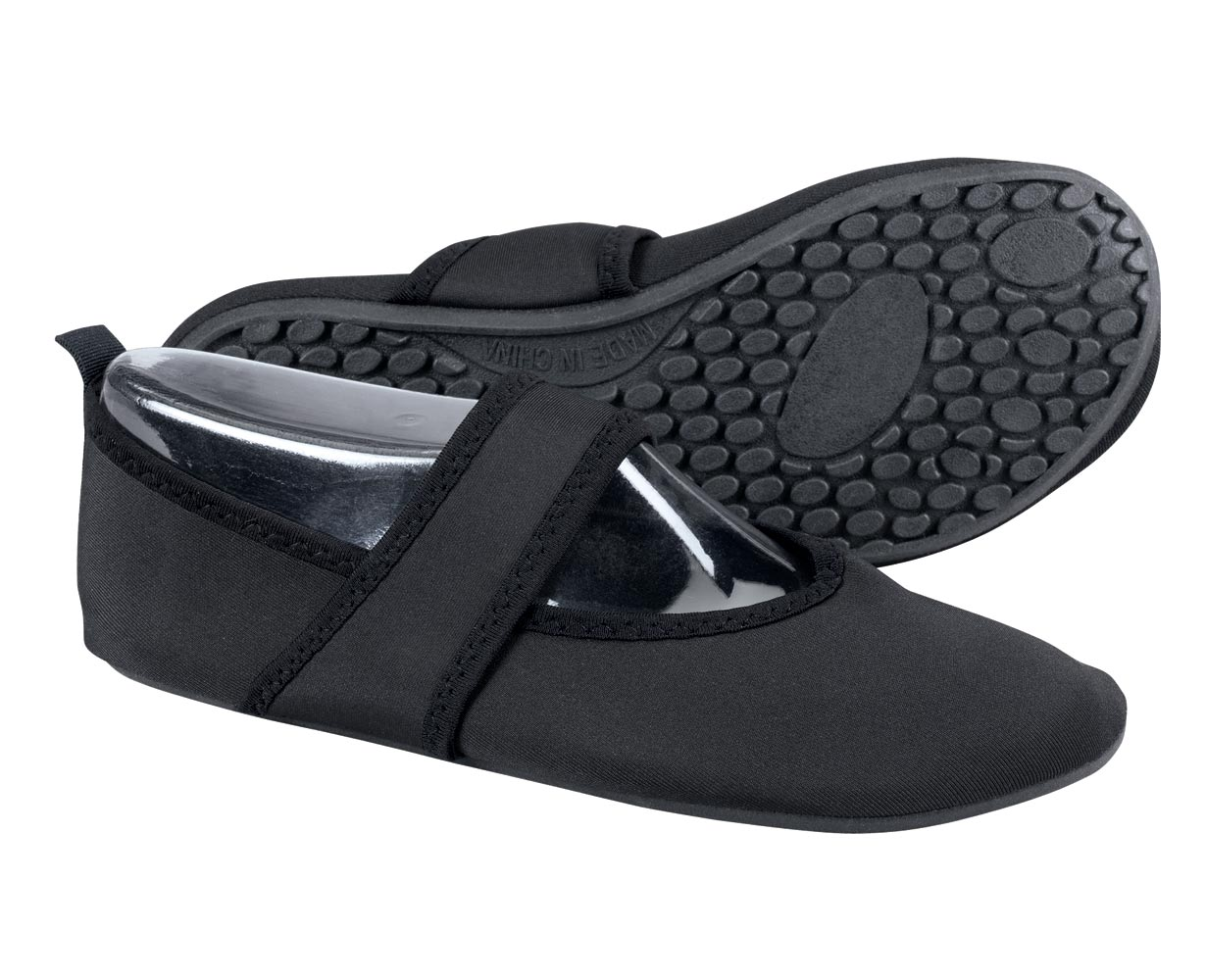 Nufoot Fitness Shoes Nufoot Fitness Shoes combine the comfort of a slipper with a sturdy skid-resistant sole. More firm than other Nufoot soles, this is the perfect athletic shoe to accompany you from every day to every adventure. Where can you wear Nufoot Fitness Shoes? They're perfect for traveling, hitting the beach, or taking a cruise. Slip on a pair for active pursuits like yoga, gym or biking. Protect your bare feet at home, in hotels or anywhere else. They'll feel like sweet relief after you slip off a pair of high heels after a long day, too. The skid-resistant soles help prevent slips, so you can stride with confidence. The seamless neoprene material cushions feet, prevents irritation and avoids chafing of feet. The four-way stretch material ensures a custom fit, and each Nufoot size fits up to three shoe sizes. The lightweight, foldable design is compact for easy carrying. Easy care, just machine wash cold and air dry. Slipper style Nufoot shoes designed for active pursuitsIdeal for travel, sports and at homeBeach, yoga, gym, biking and moreInstant relief for high heelsSkid-resistant soles are more firm than other Nufoot stylesSeamless neoprene material cushions feet, prevents irritation and avoids chafing of feetFour-way stretch material ensures a custom fitEach Nufoot size fits up to three shoe sizesEasy care, hand wash and air dryMade from 100% spandex, with a rubber sole and EVA insoleSizes: Small (5 1/2 - 6 1/2), Medium (7-8), Large (8 1/2 - 9 1/2) and XL (10-11).