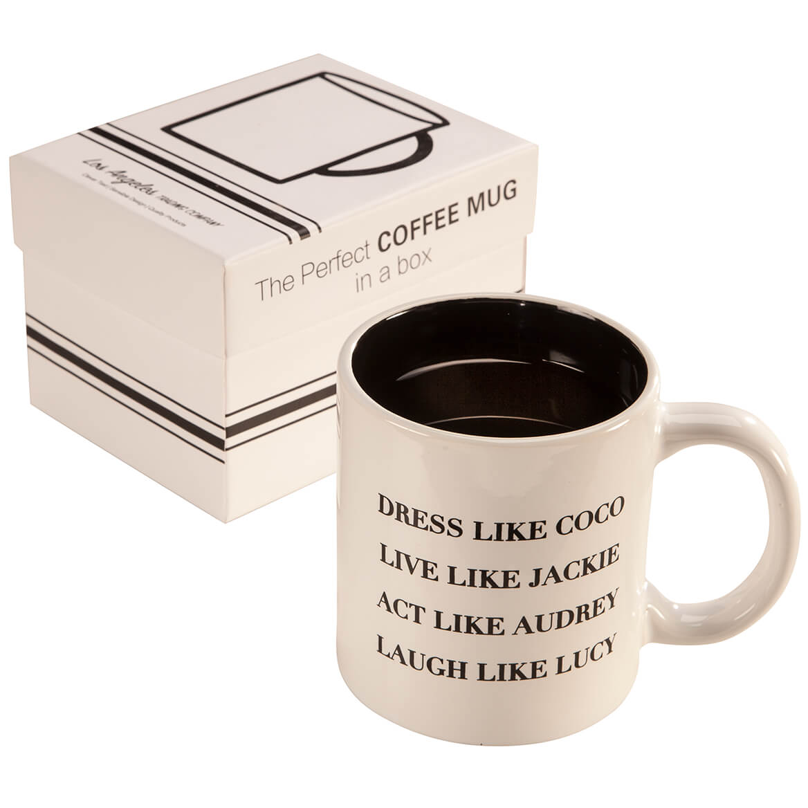 Dress Like CoCo Mug Channel the style and grace of four incredible icons--Coco, Jackie, Audrey and Lucy--while you enjoy your morning cup of coffee or tea in this Dress Like Coco mug. The inspirational text is printed on both sides. White ceramic mug with black glaze inside. Makes a great gift idea. Comes in a gift box. Dishwasher safe. Ceramic coffee mugText printed on both sidesBlack glaze insideComes in a gift boxHolds 15 oz.